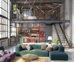 Stile industriale per un loft a Budapest