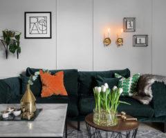 Spotlight on color: colori freddi e dettagli dorati per un interno chic