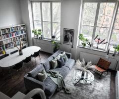 Interior Inspiration: un appartamento in stile loft nei toni del grigio